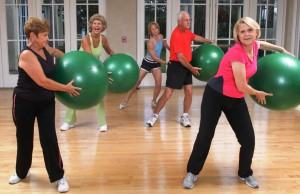 Solivita residents with exercise balls